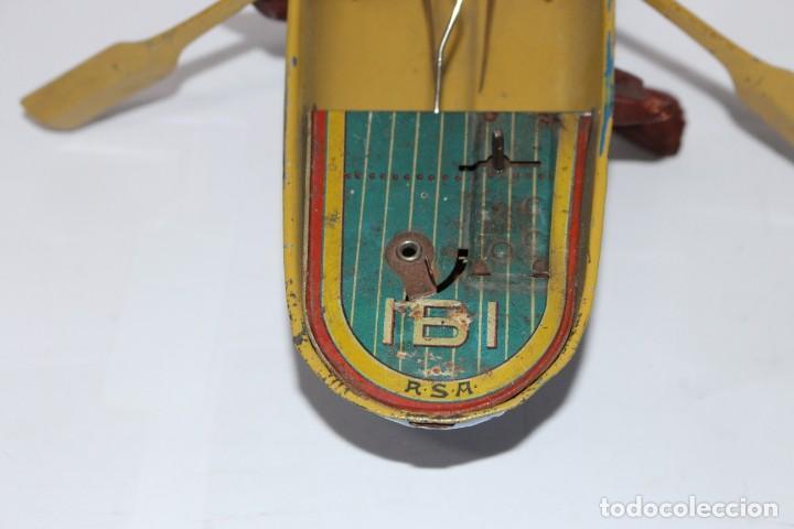 Juguetes antiguos Rico: Barca de remos nº 9 de R.S.A IBI. Rico, 36 cm. Original imposible de conseguir. Buen estado - Foto 17 - 190783963