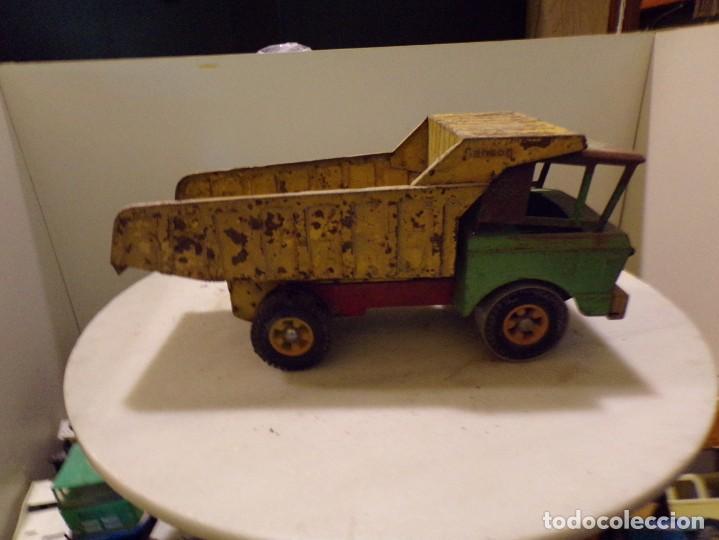 Juguetes antiguos Rico: camion antiguo de chapa con remolque marca rico 51 cm de largo - Foto 3 - 193565430