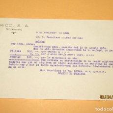Juguetes antiguos Rico: ANTIGUA CARTA DE PLENA GUERRA CIVIL DEL COMITÉ DE EMPRESA DE JUGUETES RICO - NOVIEMBRE DE 1936. Lote 199645481
