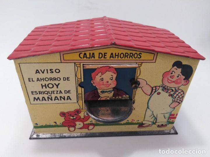 "ANTIGUA HUCHA JUGUETE DE HOJALATA DE RICO ""CAJA DE AHORROS"" (Juguetes - Marcas Clásicas - Rico)"