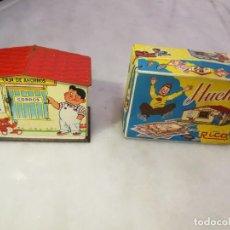 Juguetes antiguos Rico: HUCHA CAJA DE AHORROS CON CAJA - RICO - 1940 / AÑOS 40 - HOJALATA - ESPAÑA. Lote 269450303