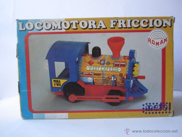 Juguetes antiguos Román: LOCOMOTORA DE TREN A FRICCIÓN JUGUETES ROMÁN REF V 701 CHAPA Y PLÁSTICO NUEVA CAJA . - Foto 13 - 53451267
