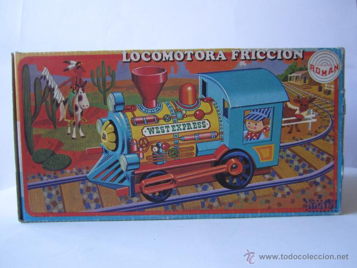 Juguetes antiguos Román: LOCOMOTORA DE TREN A FRICCIÓN JUGUETES ROMÁN REF V 701 CHAPA Y PLÁSTICO NUEVA CAJA . - Foto 14 - 53451267