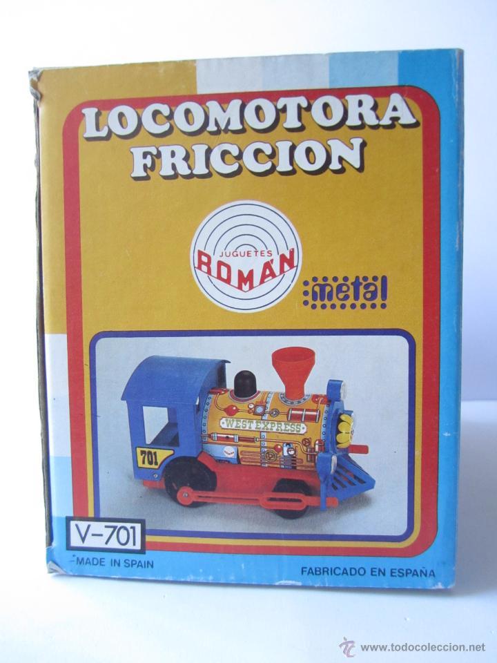 Juguetes antiguos Román: LOCOMOTORA DE TREN A FRICCIÓN JUGUETES ROMÁN REF V 701 CHAPA Y PLÁSTICO NUEVA CAJA . - Foto 15 - 53451267