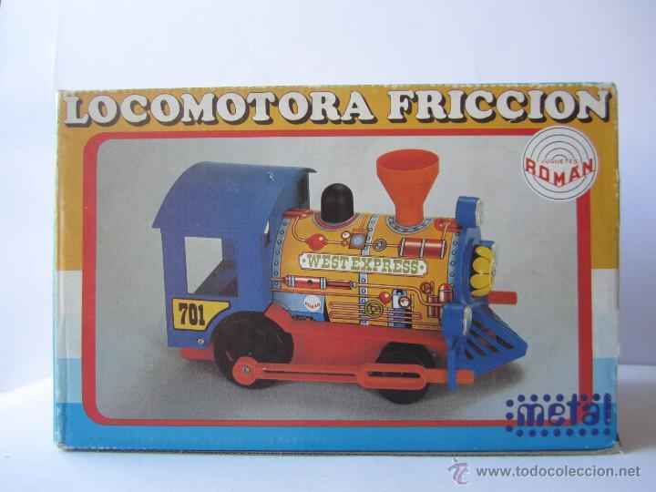 Juguetes antiguos Román: LOCOMOTORA DE TREN A FRICCIÓN JUGUETES ROMÁN REF V 701 CHAPA Y PLÁSTICO NUEVA CAJA . - Foto 18 - 53451267