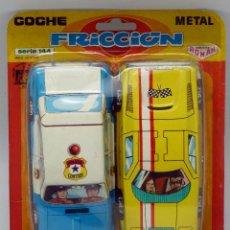Altes Spielzeug Román - 2 coches metal Román a fricción nuevos en blister Hojalata litografiada Serie 144 Policía - 74938381