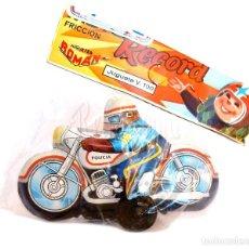 Brinquedos antigos Román: BLISTER MOTO HOJALATA / CHAPA DE POLICIA A FRICCION RECORD DE ROMAN. JUGUETE V 100 AÑOS 60 - 70. Lote 203929457
