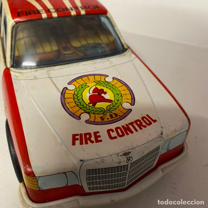 Juguetes antiguos Román: Antiguo coche salva obstáculos juguetes Román bomberos Fire control dept. 284 va a pilas - Foto 6 - 278390093