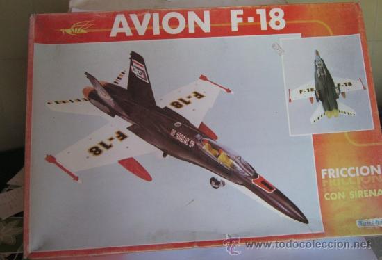 AVION F-18 SANCHIS, REF 353, A FRICCION, CON SIRENA, EN CAJA. CC (Juguetes - Marcas Clásicas - Sanchís)