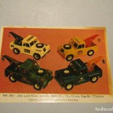 Brinquedos antigos Sanchís: ANTIGUO JUEGO DE CALCAS DESLIZABLES AL AGUA DE LOS LAND ROVER CABINA CORTA DE JUGUETES SANCHÍS. Lote 251193825