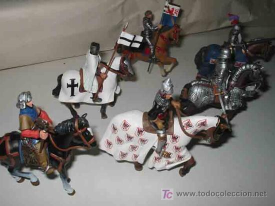 Juguetes Antiguos: 6 CABALLEROS MEDIEVALES CON SUS CABALLOS Y ARMADURAS - Foto 2 - 135189613