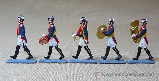 GUARDIA CIVIL DE GALA, OFICIAL Y 4 MUSICOS, PLANO PLOMO, VICENTE MALLOL, LEAD FLAT SOLDIER 1980S (Juguetes - Soldaditos - Soldaditos de plomo)