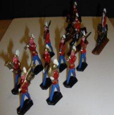 Juguetes Antiguos: (TC-20) LOTE DE 12 SODADOS DE PLOMO MILITARES BANDA A PIE Y CABALLO VER FOTOS. Lote 64892275