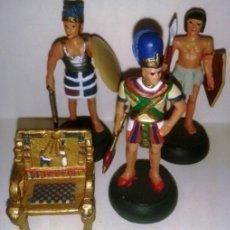 Juguetes Antiguos: LOTE 4 PIEZAS. 3 FIGURAS EGIPCIOS Y TRONO. FIGURA DE PLOMO DEL ANTIGUO EGIPTO. ALMIRALL PALOU.. Lote 69801113