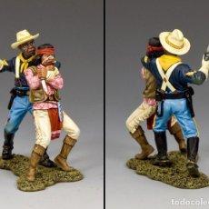 Juguetes Antiguos: CAVALRY U.S.A. YANKEE BUFFALO SOLDIERS-EL SARGENTO NEGRO Y GUERRERO APACHE-KING&COUNTRY-ESCALA 1:30. Lote 96760851