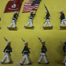 Juguetes Antiguos: CAJA 10 FIGURAS MARINES AMERICANOS EN PLOMO 45 MM COMPTE. Lote 99430103