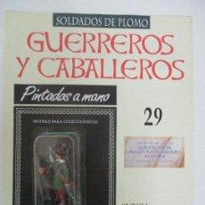 Juguetes Antiguos: SOLDADOS DE PLOMO - GUERREROS Y CABALLEROS - R.B.A. Nº 29 - SUECIA MOSQUETERO - CON FASCÍCULO. Lote 105569215