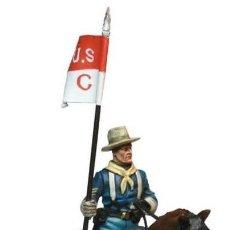 Juguetes Antiguos: SARGENTO ABANDERADO CABALLERIA U.S.A.-ESCALA 1/30-FIGURA METAL PINTADA. Lote 111603335