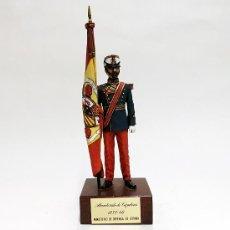 Juguetes Antiguos: SOLDADO DE PLOMO 90 MM - ABANDERADO DE CAZADORES 1833-68 - FIGURA MINIATURA MILITAR 90MM SOLDADITO. Lote 113488363