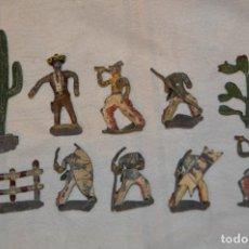 Juguetes Antiguos: VINTAGE- LOTE 10 FIGURAS Y ACCESORIOS PLOMO - OESTE - SANQUEZ, CASANELLAS, EULOGIO...ENVÍO 24H - L02. Lote 128924123