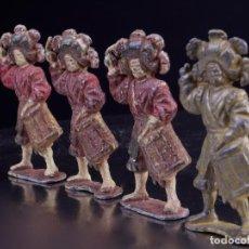 Juguetes Antiguos: ANTIGUAS FIGURAS MILITARES DE PLOMO. 4 SOLDADOS BANDA DE TAMBORES. Lote 139534490