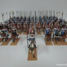 Juguetes Antiguos: IMPRESIONANTE DESFILE GUARDIA MORA FRANCO -68 SOLDADOS DE PLOMO, SANQUEZ -ABANDERADOS, LANCEROS, ETC. Lote 147569950