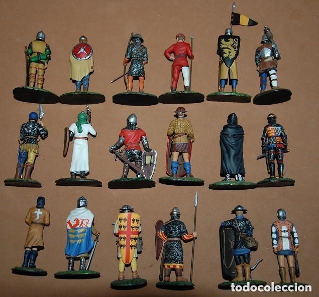 Juguetes Antiguos: LOTE DE 18 FIGURAS DE PLOMO SOLDADOS / EDAD MEDIA - Foto 2 - 147787474