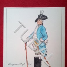 Juguetes Antiguos: TUBAL DIBUJO FIRMADO MMC OFICIAL DE DRAGONES PRUSIA 1761 MILITARIA B02. Lote 148207138