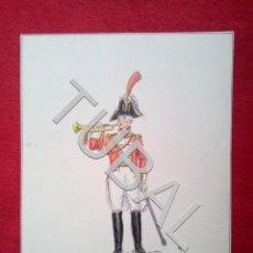 Juguetes Antiguos: TUBAL DIBUJO FIRMADO RF GUARDIA DE CORPS TROMPETA WESTFALIA 1809 MILITARIA B02. Lote 148207718