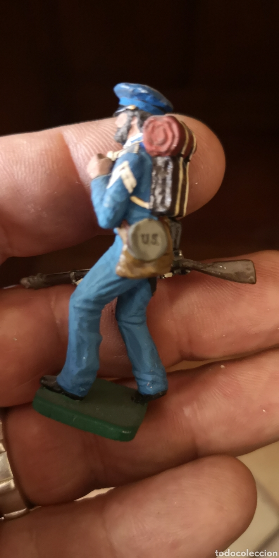 Juguetes Antiguos: Antiguo soldado de plomo pintados artesanalmente representando soldado unionista - Foto 2 - 156505842