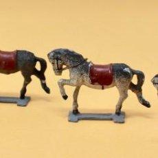 Juguetes Antiguos: 4 ANTIGUOS CABALLOS DE PLOMO, 50MM. Lote 160830958