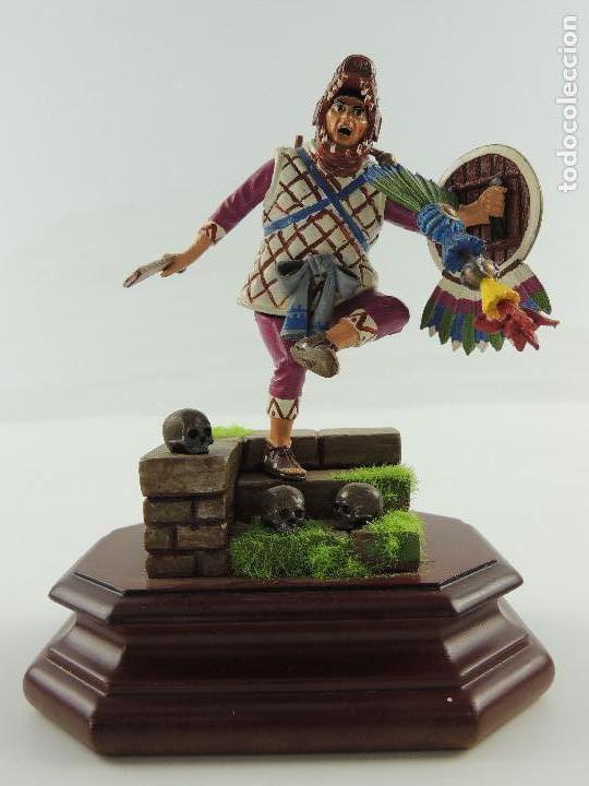 Plomo Capitán Azteca1521Sobre Soldadito Coleccion De Pieza Madera Peana UGqpMVzS