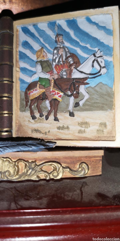 Juguetes Antiguos: Maqueta realizada en plomo pintada artesanalmente representando el libro del Quijote - Foto 2 - 163409245