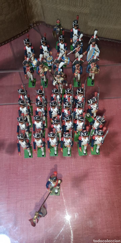 Juguetes Antiguos: Conjunto de soldados napoleonicos de plomo pintados a mano artesanalmente banda y Regimiento de Infa - Foto 2 - 166453818