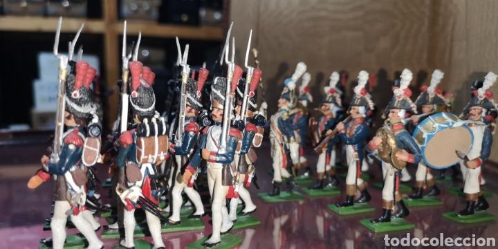 Juguetes Antiguos: Conjunto de soldados napoleonicos de plomo pintados a mano artesanalmente banda y Regimiento de Infa - Foto 3 - 166453818
