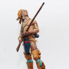 Juguetes Antiguos: GUERRERO DELAWARE. FIGURA EN PLOMO, 90 MM. PINTADA A MANO EN ALTA CALIDAD.. Lote 171012462