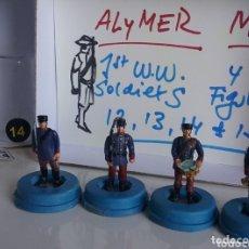 Juguetes Antiguos: ALYMER MD SOLDADOS 1A GUERRA MUNDIAL , AÑOS '70 FIGURAS EN METAL, NÚMEROS 12 AL 15 DEL CATÁLOGO. Lote 88183150