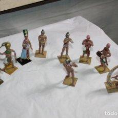 Juguetes Antiguos: NUEVE FIGURAS EGIPCIAS DE PLOMO PINTADOS A MANO. Lote 177464097