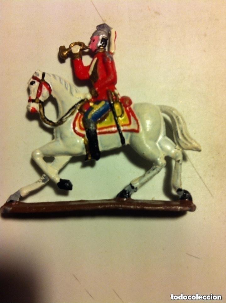 Juguetes Antiguos: soldaditos - trompetista a caballo (figura plana) - muy bien conservado- 6x6,5 cm - Foto 2 - 193559481