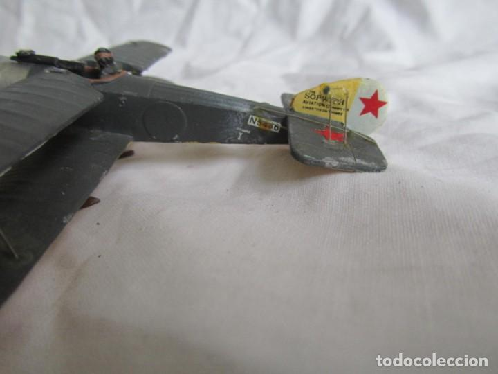 Juguetes Antiguos: Avión de plomo biplano sovietico tren de aterrizaje para nieve N5486 - Foto 11 - 197675802
