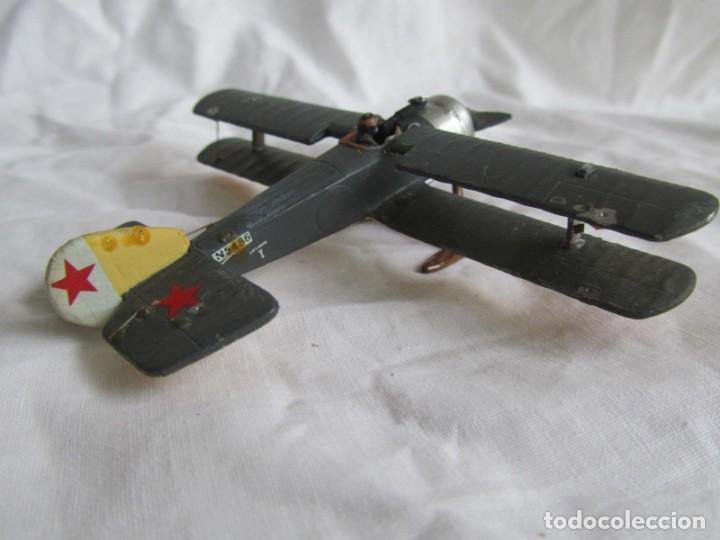 Juguetes Antiguos: Avión de plomo biplano sovietico tren de aterrizaje para nieve N5486 - Foto 13 - 197675802