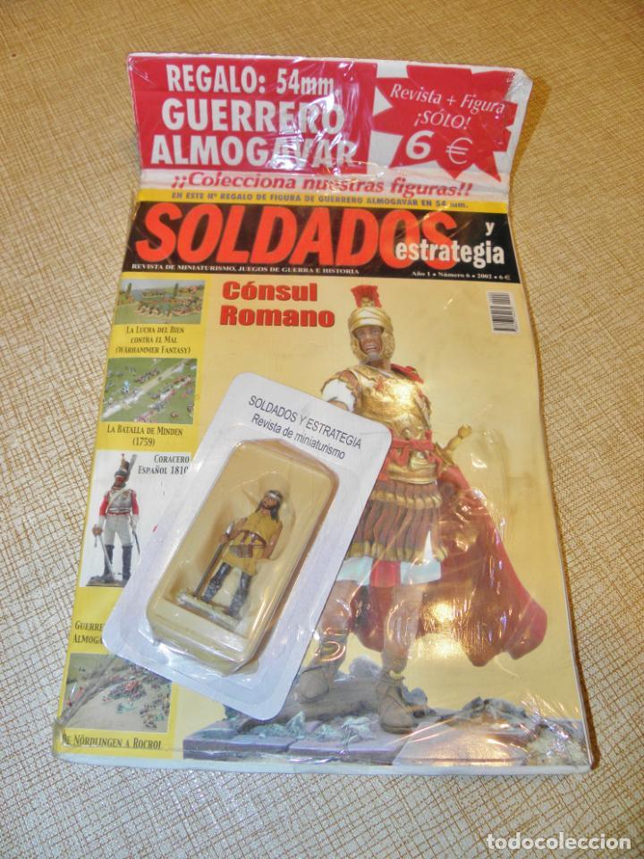 SOLDADOS Y ESTRATEGIA AÑO 1 Nº 6 - 2002 REVISTA + FIGURA PLOMO GUERRERO ALMOGAVAR 54 MM. (Juguetes - Soldaditos - Soldaditos de plomo)