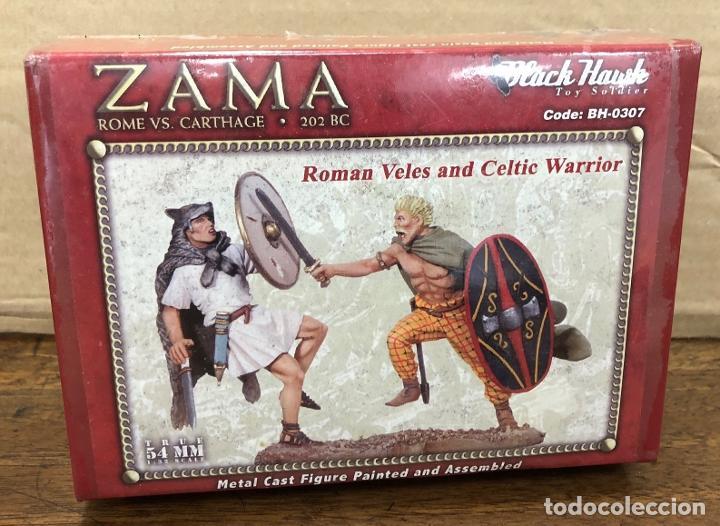 SOLDADO PLOMO BATALLA ZAMA. ROME VS CARTHAGE. BLACK HAWK. ROMAN VELES AND CELTIC WARRIOR. BH-0307 (Juguetes - Soldaditos - Soldaditos de plomo)