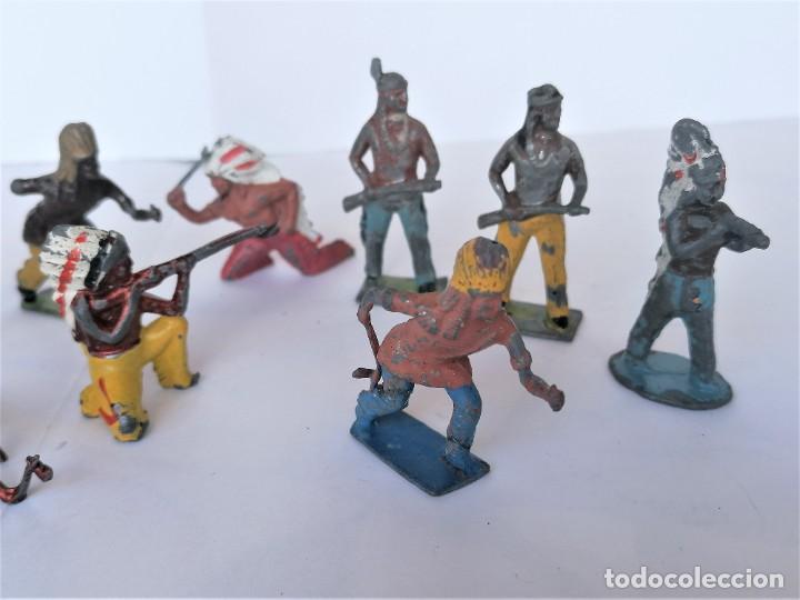 Juguetes Antiguos: COLECCION ANTIGUOS SOLDADOS DE PLOMO, 9 INDIOS OESTE AMERICANO,AÑOS 20/30 MARCA BRITAINS,RAROS - Foto 5 - 208060396