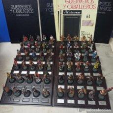 Juguetes Antiguos: LOTE 60 FIGURAS DIFERENTES SOLDADITOS PLOMO SOLDADOS COLECCION GUERREROS Y CABALLEROS RBA. Lote 213646965
