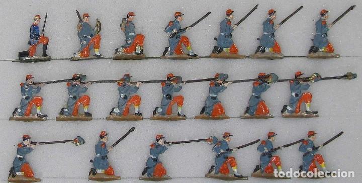 20 ANTIGUOS (1950/60) SOLDADOS DE PLOMO, INFANTERIA BAJO FUEGO,1870-1871 , PLOMOALEACIÓN (Juguetes - Soldaditos - Soldaditos de plomo)