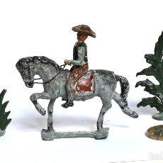Juguetes Antiguos: COWBOY A CABALLO CON 2 PLANTAS, DE PLOMO, MARCA PECH HNOS. CIRCA 1940/50.. Lote 224741571