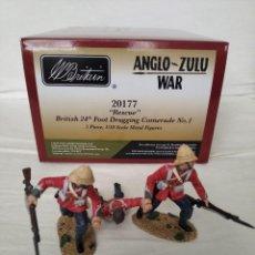 """Juguetes Antiguos: BRITAINS ZULU WAR 20177 """" RESCUE"""" BRITISH 24TH FOOT DRAGGING COMERADE (3 PIECES). Lote 231956655"""