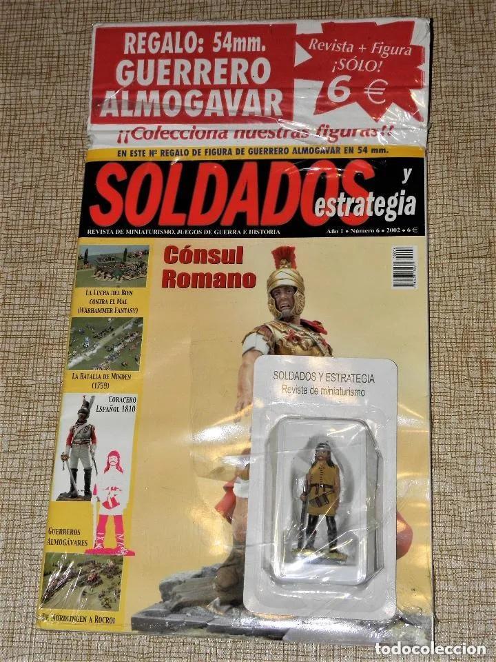 SOLDADOS Y ESTRATEGIA AÑO 1 N.º 6 - 2002 REVISTA + FIGURA PLOMO GUERRERO ALMOGAVAR 54 MM. (Juguetes - Soldaditos - Soldaditos de plomo)