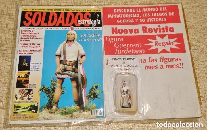 SOLDADOS Y ESTRATEGIA AÑO 1 Nº 1 - 2001 REVISTA + FIGURA PLOMO GUERRERO TURDETANO 54 MM. (Juguetes - Soldaditos - Soldaditos de plomo)